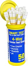 Poolmaster 22211 Smart Test 4-Way Swimming Pool and Spa Water Chemistry Test Strips, 50..