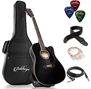 Ashthorpe Full-Size Cutaway Thinline Acoustic-Electric Guitar Package – Premium..