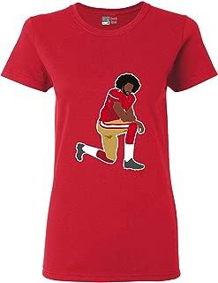 Ladies Kaepernick 7 Kneel Stand Football Protest Kap Front Back DT T-Shirt Tee
