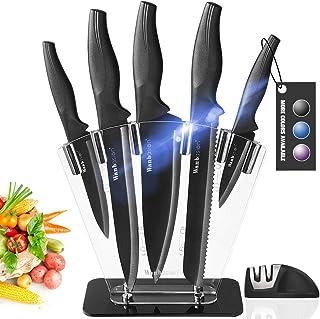 Wanbasion Noir Bloc de Couteaux de Cuisine avec Support Acrylique, Set de Couteaux Cuisine en Acier Inoxydable, Couteau Cu...