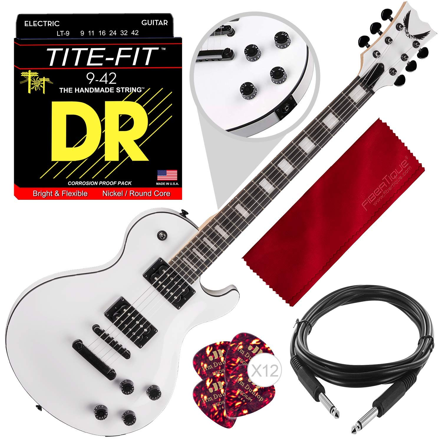 Cheap Dean TBX CWH Thoroughbred X Solid-Body Electric Guitar Classic White with Guitar Picks Strings and Accessory Bundle Black Friday & Cyber Monday 2019
