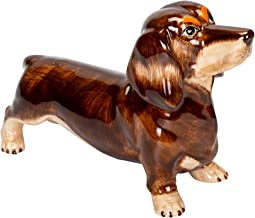 Sea Island Imports Red Dachshund Shaped Ceramic Stoneware Hand Painted Coin Bank