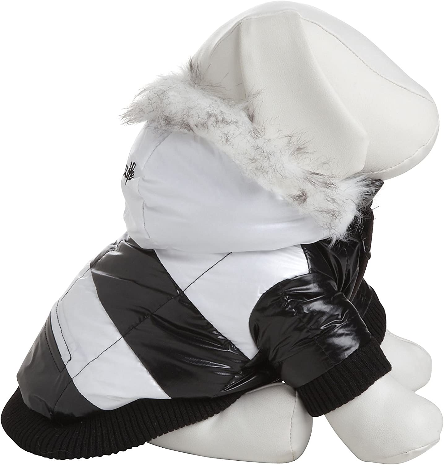 PET LIFE Fashion Striped UltraPlush Pet Dog Coat Jacket Parka w  3M Insulation and Removable Hood, XSmall, Black & White