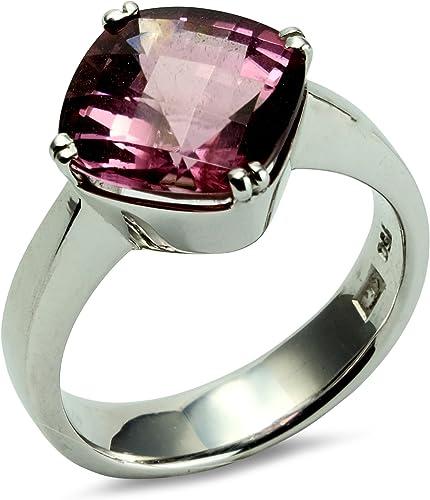 Anello da donna in oro bianco 750, 18 carati, tormalina rosa, solitario sfaccettato, misura 55 r04-a0039 R439