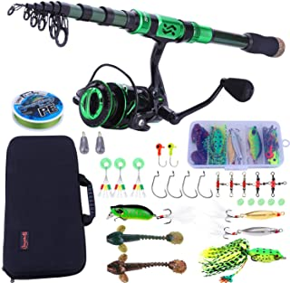 Souilang Fishing Rod and Reel Combos - Carbon Fiber Telescopic Fishing Pole - Spinning Reel 12 +1 BB with Carrying Case fo...