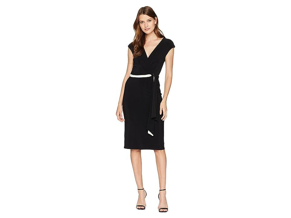 Taylor Short Sleeve Contrast Belt Jersey Wrap Dress (Black/Ivory) Women