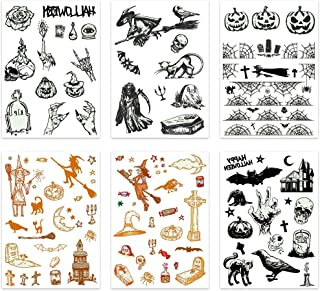 Zotemo Halloween Luminous Temporary Tattoo Stickers, 6 Sheets Glowing in the Dark and Horror Tattoos for Halloween Masquerade and Parties