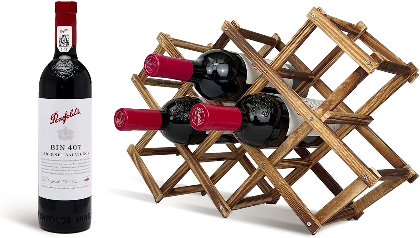 EcomVast Wine Rack Credence 10 Limited price sale Bottle Foldable Bordea Holder Wooden