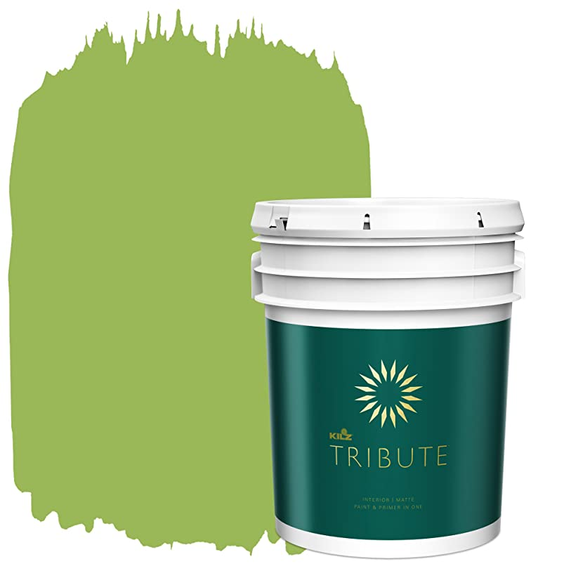 KILZ TRIBUTE Interior Matte Paint and Primer in One, 5 Gallon, Lush Green (TB-78) wowstrub317502