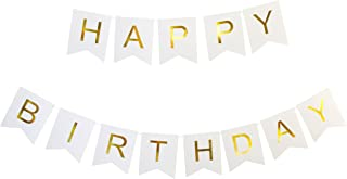 KEIRA PRINCE CRAFTS HAPPY BIRTHDAY BANNER (WHITE, GOLD)
