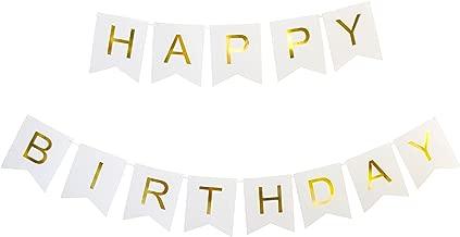 KEIRA PRINCE CRAFTS HAPPY BIRTHDAY BANNER (WHITE, GOLD)