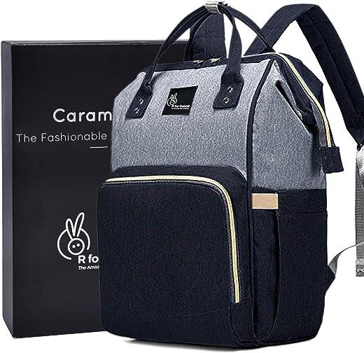 R for Rabbit Caramello Diaper Bag for Mother Waterproof Maternity Bag (Black Grey)