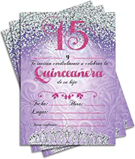 25 Quinceañera Party Invitations 5x7 Double Sided Purple Cards For Girl's 15th Birthday includes Envelopes (Spanish/En Espanol) (Family)