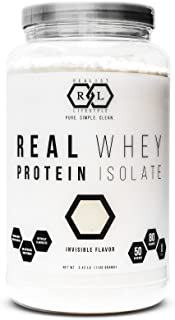 Realist Lifestyle REAL Whey Protein Isolate, Invisible Flavor, Clean Ingredients, 2.42 Pounds, 50 Servings, Soy Free