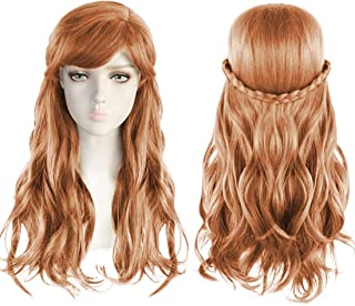 JoneTing Brown Wig Cosplay Long Wavy Princess Wig for Kids with Bangs Wig for Girls