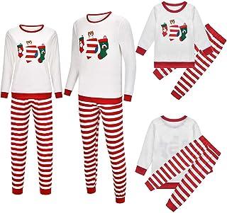 shengyijia Whole Family Christmas Pajamas Outfits Set Parents Kids Cartoon Christmas Socks Print Sweatshirt + Stripe Joggi...