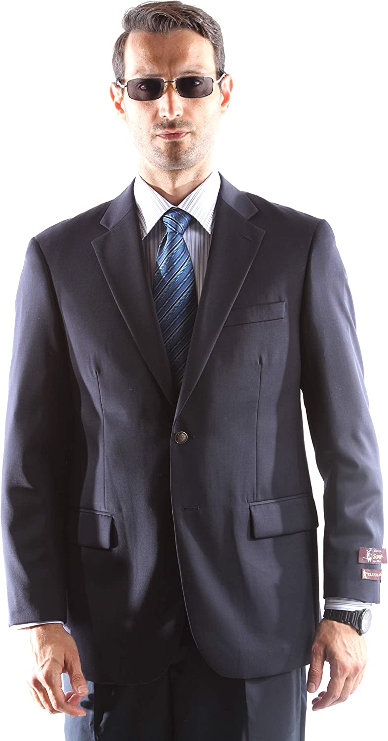 Men's Single Breasted 2 Los Angeles Mall Button In stock Super 100% Wool 110's Navy Blazer