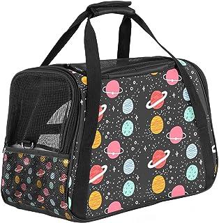 Bärbar resväska för husdjur, flyggodkänd duffelväskor för katt hund kanin med mjuk sida fantasi kosmos planet tryck