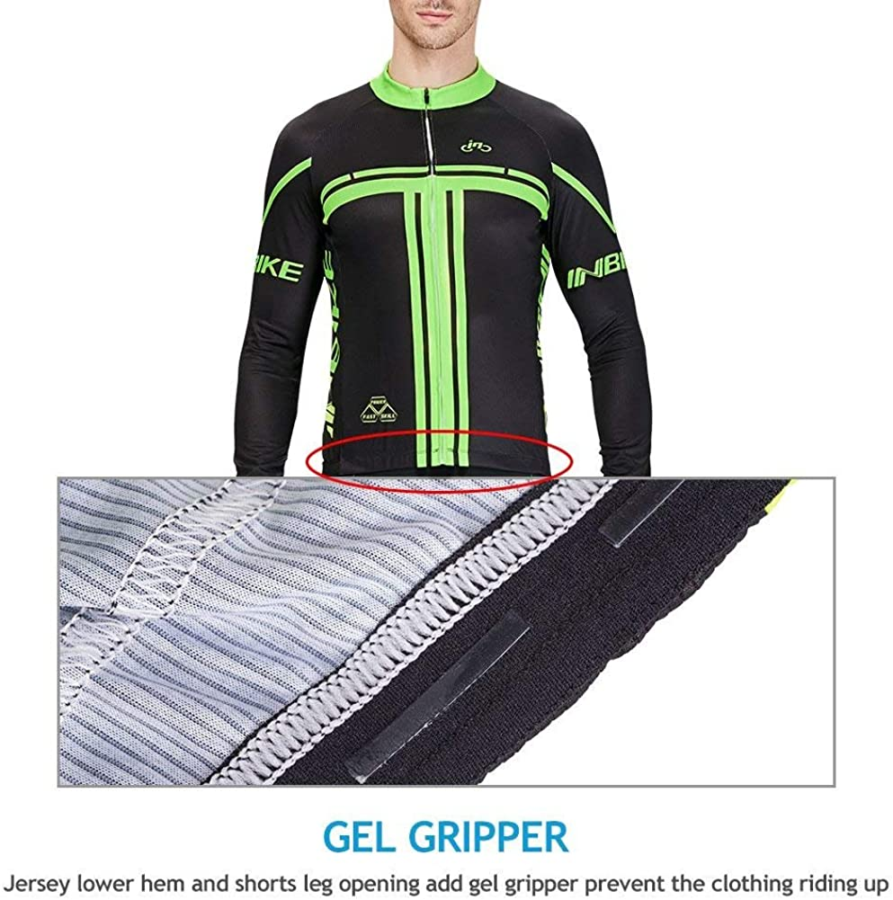 INBIKE Mens Long Sleeve Bike Jersey Set 3D Padded Tights Suit for Cycling
