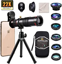 11 in 1 Universal Cell Phone Camera Lens kit,Clip on Smartphone 22X Telephoto Lens,Wide Angle Lens, Macro Lens, Fisheye Lens, 3 Filter,Tripod, Remote Shutter for iPhone Samsung & Most of Smartphone