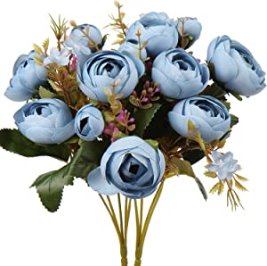 Fake Peonies Artificial Roses Flower Bouquets Silk Roses Branch Vintage Faux Rose Bush Shabby Chic Silk Peony-Blue Roses Artificial Flowers for Vase Peony Artificial Flowers for Home Decor 2 Bouquet