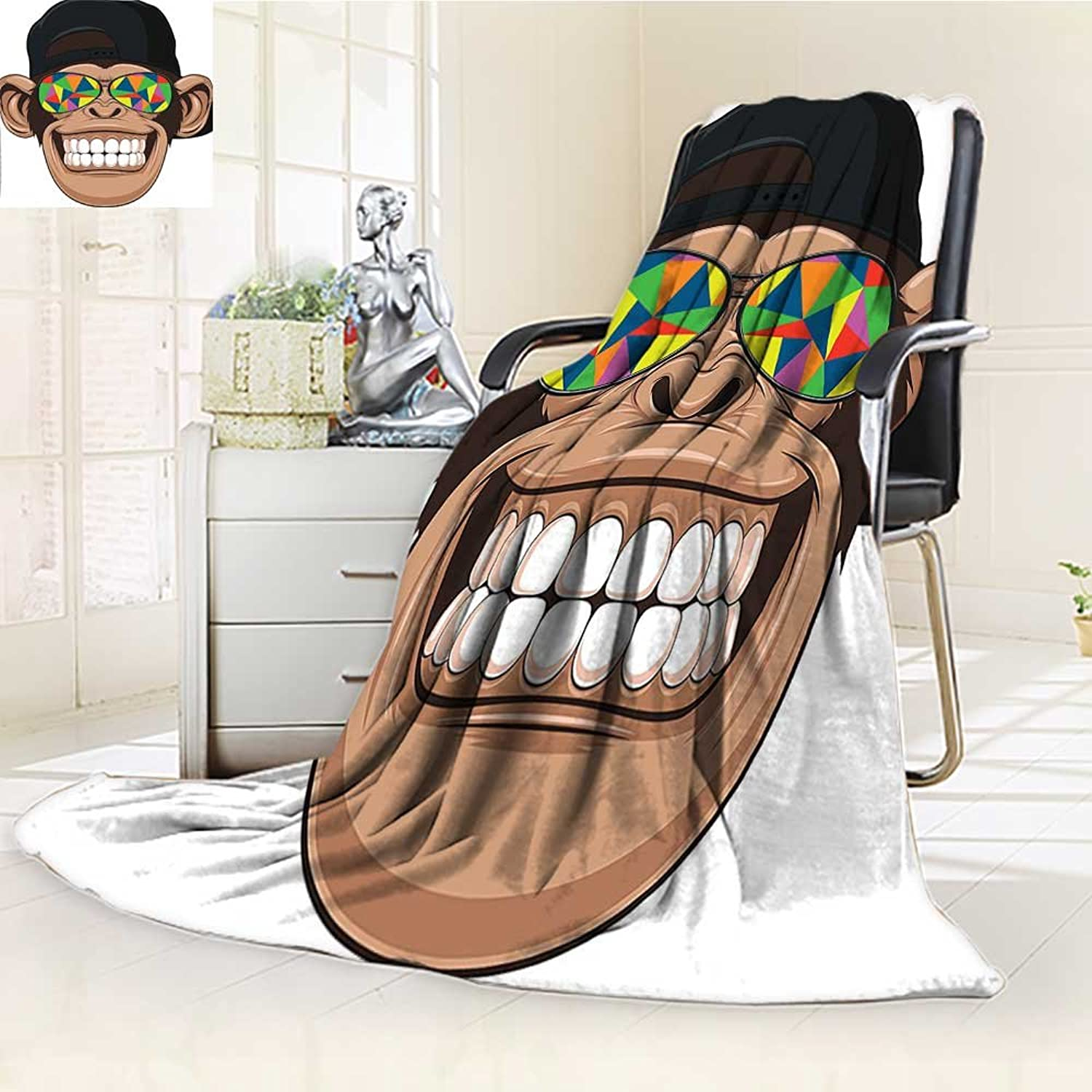 YOYI-HOME Fashion Designs Warm Duplex Printed Blanket Cartoon Fun Hipster Monkey with colorful Sunglasses and Hat Rapper Hippie Ape Art Graphic Multi Sofa,Air-Conditioner Room  W59 x H39.5