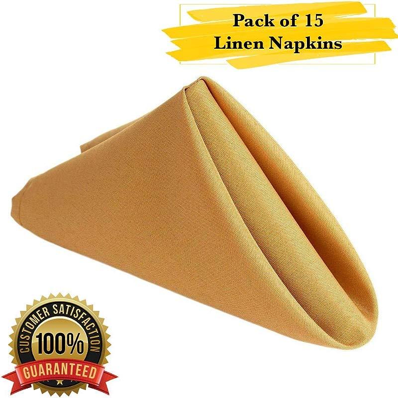 PrimeLyne Premium Polyester Dinner Napkins 17x17 Stain And Wrinkle Resistant Linen Napkins With Hemmed Edges Pack Of 15 Gold