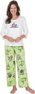 Cute Pajamas for Women - Cotton, I Need Coffee Print, Green