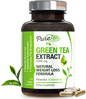 Green Tea Extract 98% with EGCG for Weight Loss 1000mg - Boost Metabolism for Healthy Heart - Antioxidants & Polyphenols for Immune System - Gentle Caffeine - Natural Fat Burner Pills - 120 Capsules