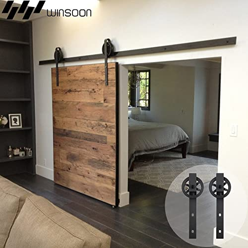 Genial WINSOON 5 16FT Single Wood Sliding Barn Door Hardware Basic Black Big Spoke  Wheel Roller