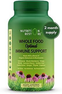 Whole Food Optimal Immune Support | Organic Ingredients | Echinacea, Elderberry, Chaga, Reishi, Acerola Cherry, Goldenseal...