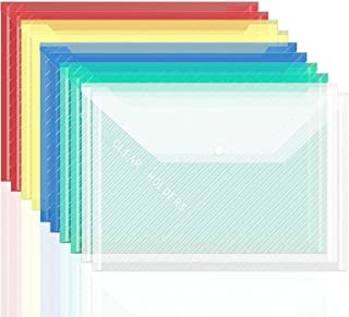File Document Folder Envelope Plastic Bag with Snap Closure 10 Pcs, A4 Size for Office Supplies File Organizer (Multi Color)