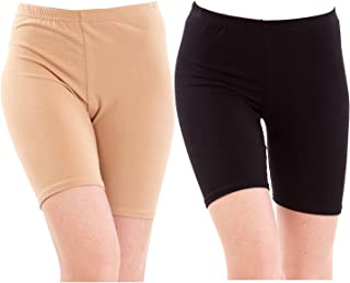 Pixie Biowashed 220 GSM Cotton Lycra Cycling Shorts for Girls/Women/Ladies Combo (Pack of 2) Beige and Black - Free Size