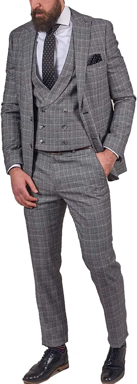 Men's Suits 3 Pieces Grey Tweed Plaid Formal Wedding Tuxedo Suits Blazer Trousers Vest