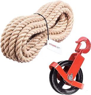 Seilwerk STANKE 125mm Umlenkrolle mit Haken  Juteseil 20mm 20 Meter Seilwinde Seilzug Seilrolle Windenrolle Flaschenzug Baurolle Bau Aufzug SET