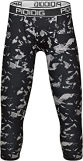 Youth Boys Compression Pants 3/4 Basketball Tights Sports...