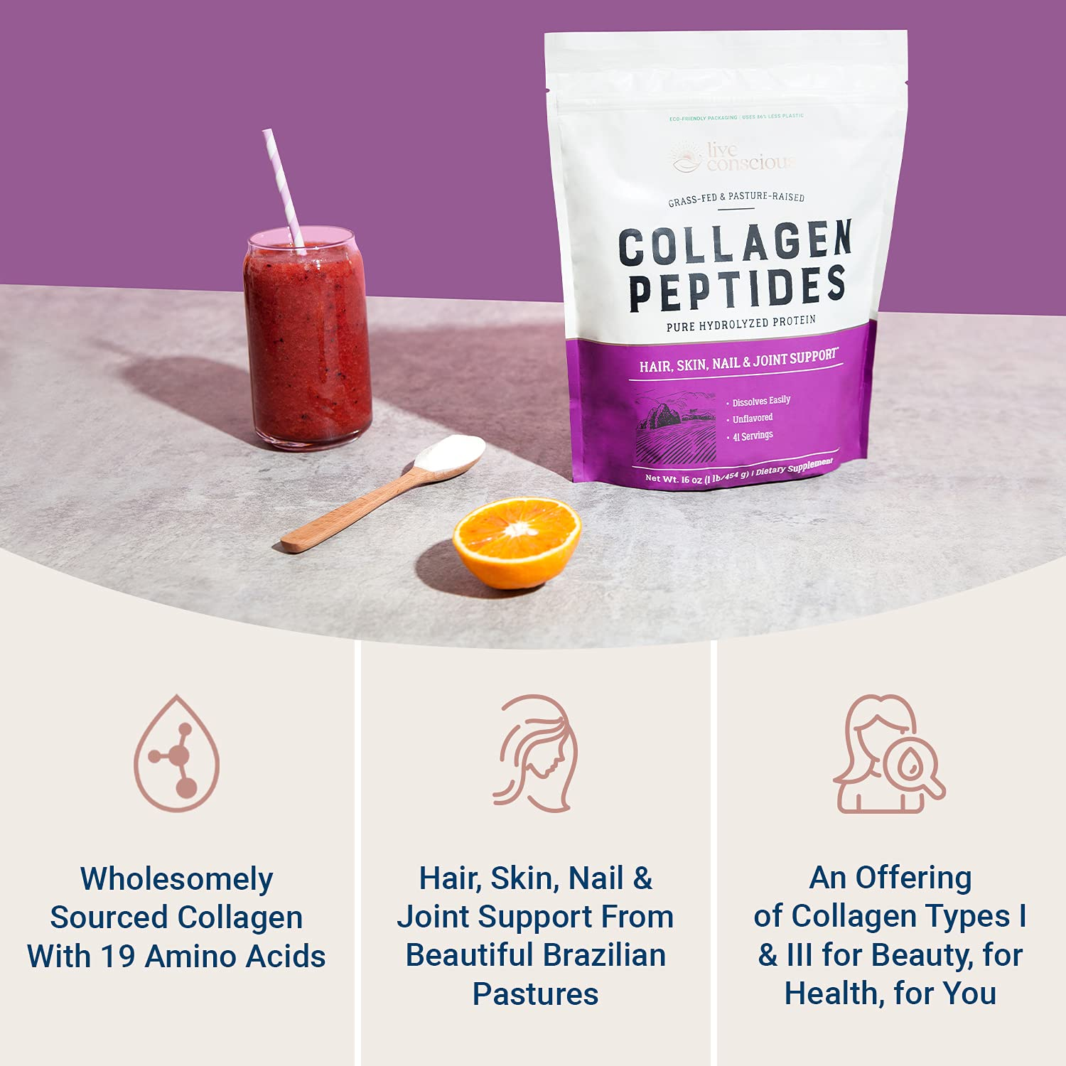 Collagen Peptides Powder - Hair, Skin, Nail, and Joint Support - Type I & III Collagen - All-Natural Hydrolyzed Protein - 41 Servings - 16oz