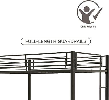 DHP Full over Full Bunk Bed for Kids, Metal Frame with Ladder (Black)