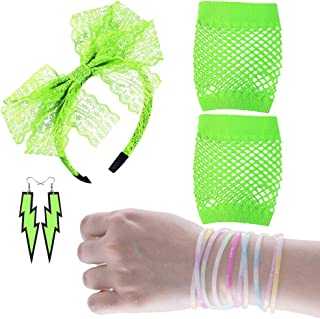 Women's 80s Fancy Dress Accessories Lace Headband Neon Earrings Fingerless Fishnet Gloves Bracelet for Fashion Retro 80s Party Outfit Costume Set Ladies and Girls (Green4PCS)