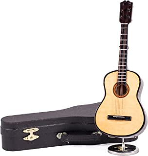 Broadway Gifts Miniature Wooden Classic Steel String Guitar Music Box and Black Case - Plays Hey Jude or Fer Elise