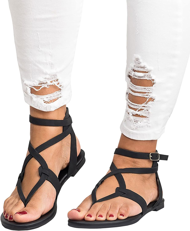 Pxmoda Womens Cute Criss Cross Strappy Flat Sandals Summer Beach Flip Flop Flats Gladiator