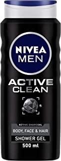 Nivea MEN Active Clean Shower Gel (500ml), Purifying Activated Charcoal Body Wash, Men's Shower Gel with Masculine Scent, ...