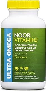 NoorVitamins Omega 3 Fish Oil Pills - Ultra Potency Formula - 1200mg EPA/DHA Per Serving - 120 Softgels - Halal Vitamins (1)