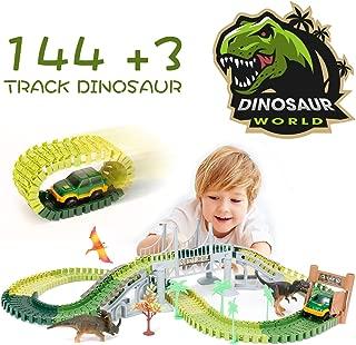 Romanda Dinosaur Toys,144pcs Dinosaur Race Track Car Toys Flexible Trains Tracks Playset Gifts Toys for 3, 4, 5, 6 Year Old Boys and Girls Kids Best Gift