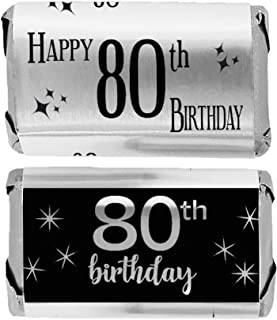 Black and Silver 80th Birthday Mini Candy Bar Wrappers, Shiny Foil - 45 Stickers