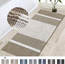 Turquoize Bath Rug Runner Chenille Bath Rugs for Bathroom Stripe Pattern Absorbent Bathroom Floor Mat Non Slip Bathroom Ru...