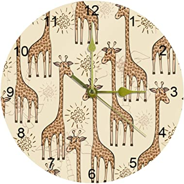 Round Wall Clock Non Ticking Digital Quiet Sweep Decorative Clocks with Brown Giraffe Pattern for Kitchen Bedroom Living Room