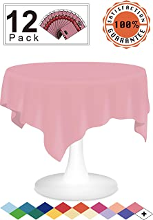 Pink Plastic Tablecloths Disposable Table Covers 12 Pack Premium 84 Inches Round Table Cloths for Round Tables up to 6 Feet and for Picnic BBQ Birthdays Weddings any Events Occasions, PEVA Material