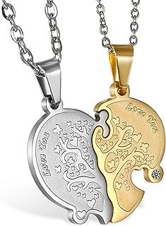 JewelryWe Collana Amanti Fidanzati Amicizia in Acciaio Inossidabile Love You,Albero della Vita, Cuore Puzzle, Colore Oro A...