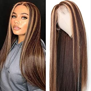 UNice Ombre Highlight Lace Front Human Hair Wig Brown Blonde Mixed Color, Brazilian Remy Straight Hair 13x4 Lace Frontal Wig Pre Plucked with Baby Hair for Women 150% Density (24inch)